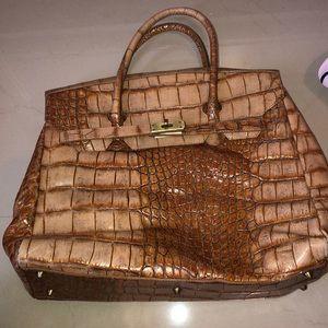 Genuine cowhide crocodile embossed bag
